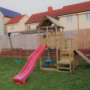 Penthouse with ramp, swing module with baby seat growing and plastic seat - OPTIONAL PICNIC TABLE