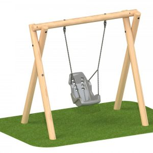 Inclusive round timber commercial swing set